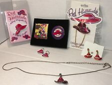 Red Hat Society Collector Starter Set Pins Necklace Eyeglass Holder Earrings Fun