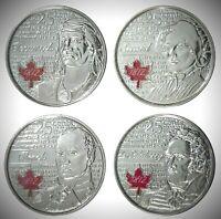 Canada 2012 / 2013 War of 1812 4 Coin Colourized Commemorative Quarter Set!!