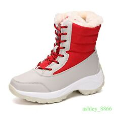 Womens Mid Calf Ankle Snow Boots Fur Lined Winter Warm Shoes Lace Up Platform