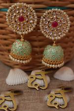 Bollywood Indian Pearl Enameled Green Jhumka Jhumki Earrings Bridal Jewelry Set