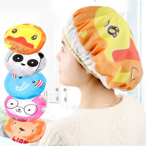 1PCS Elastic Waterproof Shower Cap Hat Bath Head Hair Cover Salon Shower Cap