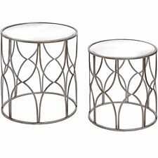 CONTEMPORARY SILVER GLASS SET OF 2 ROUND LATTICE DETAIL SIDE END TABLES (H18545)