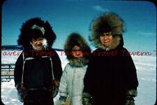 1950s ALASKA Cute Native Eskimo Inuit Kids with Caribouo Parkas 35mm Slide c764