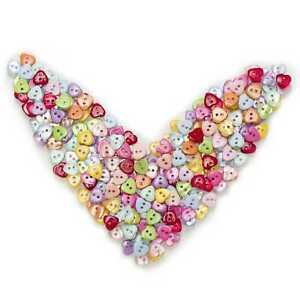 100pcs Mixed Heart Shape Resin Buttons Sewing Scrapbooking Home Cloth Decor 12mm