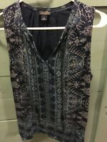 Women's Lucky Brand Top Blouse navy blue M