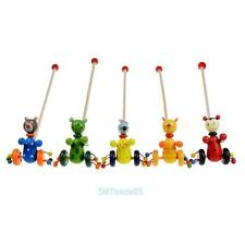 Cartoon Baby Toddler Walking Putting Animals Wooden Puzzle Trolley Game Play Toy