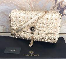 bea16f99e2d9 Rare Versace Studded Vanitas Medusa Gold Tassel Shoulder Bag