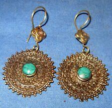 "Earrings Circle Malachite Afghan Kuchi Tribal Alpaca Silver 1 1/2"""