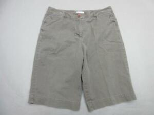 TALBOTS SIZE 12 WOMENS BROWN COTTON LYCRA STRETCH CASUAL CHINO SHORTS T856
