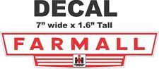 1 Red International Harvester Ih Tractor Farmall Vinyl Decal