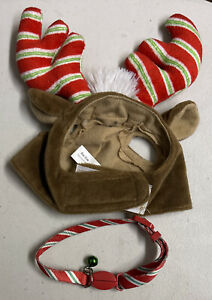 Time for Joy Used Reindeer Antler Hat Polyester One-Size-Fits-All + Collar Pet