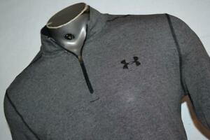 23594-a Mens Under Armour Golf Pullover 1/4 Zip Size Large Gray Polyester