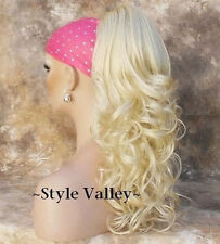 LONG Bleach Blonde Ponytail Hairpiece Extension Curly Clip on Hair Piece #613