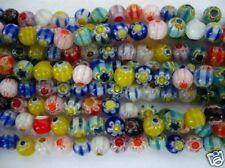 Glass Round Beads Mureno Flower 7MM, glass beads string assorted colors 1 strand