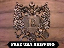 Monogram, Shield, Medieval, Wall Plaque, CHOOSE YOUR INITIAL. Eagle, Crown Cross