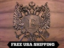 Monogrammed Shield Medieval Wall Plaque, CHOOSE YOUR INITIAL. Eagle, Crown Cross