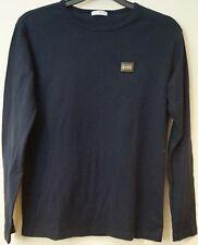 DOLCE & GABBANA per Bambino Blu Navy Cotone Manica Lunga Con Logo T-Shirt Tee Top 12y