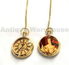 Set Of 2 Handmade Brass Victoria Pocket Watch With Chain Vintage Nautical Watch
