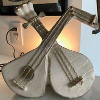 Rare Vintage 50s Instruments Lute Ceramic TV Lamp Planter Mid Century Modern