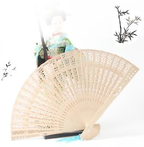 Wooden Asian Hand Fan with Random Color Hanging Tassel Party Decoration Gift