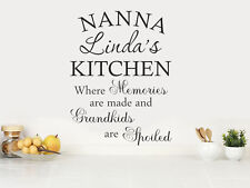 PERSONALISED Kitchen Wall Quote for Grandma/Nanna's, Modern Wall Sticker, Decal
