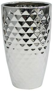 Gloss Dimpled Silver Flower Vase  Design 25cm Tall Ceramic Vase Wide Mouth