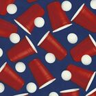 Beer Pong Tossed Cups and Balls Blue 100% Cotton Fabric by The Yard