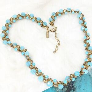 Vintage Holly Yashi 14K Gold Filled Woven Necklace AB Stones Turquoise Topaz EUC