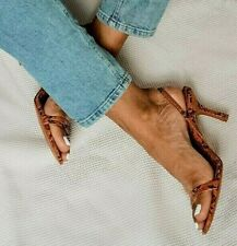ZARA BROWN ANIMAL SNAKE PRINT MID-HEEL STRAPPY SANDALS WITH ELASTIC BAND, UK 4.