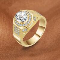 Eg _18K Vergoldet Strass Ehering Verlobung Hochzeit Mode Herren Finger Ring C