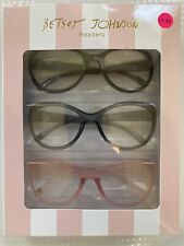 BETSEY JOHNSON  3 pk Large Frame  Black Grey Pink Readers Glasses +1.50 New