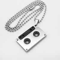 Mens Jewelry Silver Stainless Steel DJ Tape Pendant Ball Link Chain Necklace
