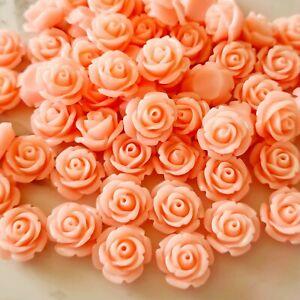 Pack of 50 Pink Rose Flower Flatbacks, Resins for Bow Making, Embellishments
