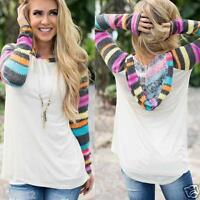Women Fashion Long Sleeve Striped T Shirt Splicing Hoodie Pullover Top Blouse