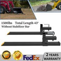 "1500lb 43"" Tractor Bucket Pallet Forks Clamp Kubota Loader Skid Steer Attachment"