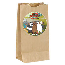 We Bare Bears birthday Sticker Labels - goody bag, loot, party 3.5inches