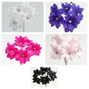 DIAMANTE MARGHERITA Bunch of 6 Flower Spray Box Craft Decoration Embellishment