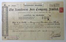 India 1921 Lansdowne Jute Company share certificate