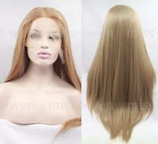 "AU 24"" Straight Heat Resistant Hair Honey Blonde Lace Front Wig Women"