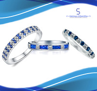 925 Sterling Silver Round & Princess Half Blue Eternity Ring with Cubic Zirconia