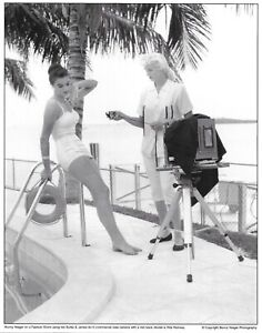 Bunny Yeager Rita Ramsey photo with Burke and James 8x10 commercial view camera