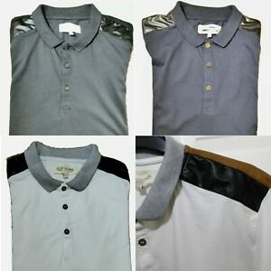 Mens Ex River Island Polo Shirt XXS to XL Collared Short Sleeve Shoulder Patch