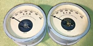 EARLY Antique Matched Pair of R.P.M. Electrical Gauges *Railroad/Power*