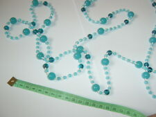 Vintage Czech? V Long Glass Turquoise Blue Bead Flapper Lagenlook Style Necklace