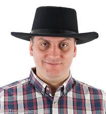 Black Felt Cowboy Hat Wild West Western Elasticated Fit Fancy Dress