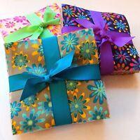 "102 crazy daisy pre cut charm pack 5"" squares 100% cotton fabric quilt"