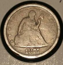 1875 TWENTY CENT PIECE OBSOLETE DENOMINATION AMERICAN 20 CENTS SEATED LIBERTY P