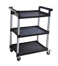 80774 3 Shelf Utility Plastic Cart With Wheels 225 Lbs Maximum Capacity