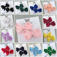 2x Girls Hair Clip Piggy Tail Bow Small Hair Accessory 3 inch School Colours