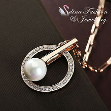 18K Rose Gold Plated Simulated Pearl & Diamond Stylish Round Necklace Jewellery
